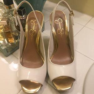 Jessica Simpson white patten Leather